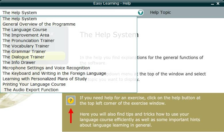 Easy Learning 6 Help Topic