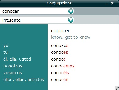 Table of Conjugations