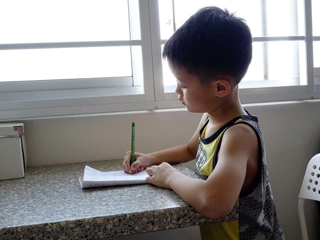 Boy Writing On A Book Near The Window