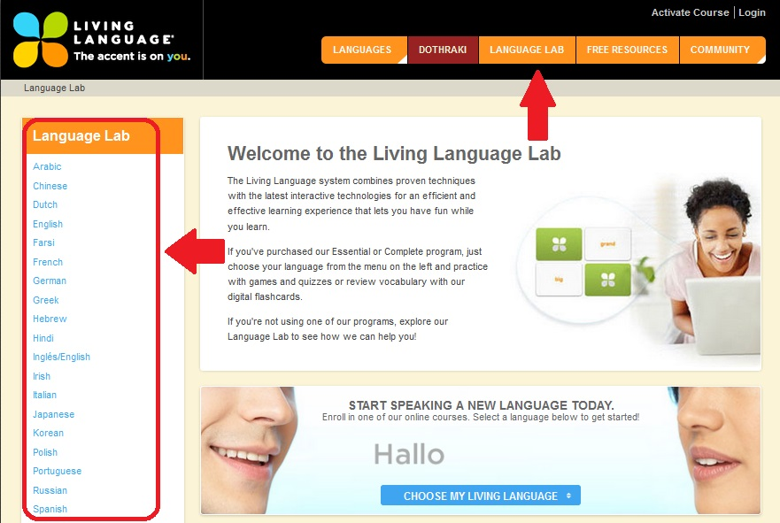 Living Language Main Menu