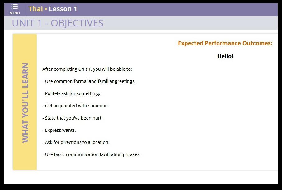 Transparent Language Objective For Each Lesson