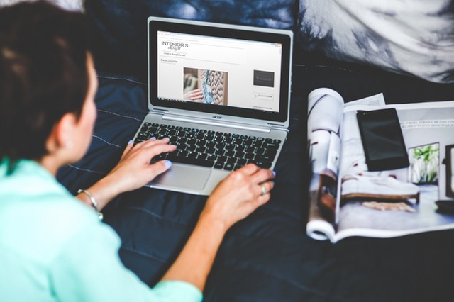 Woman Checking Her Blog