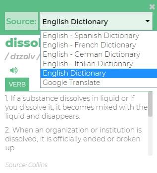 Change Dictionary Source