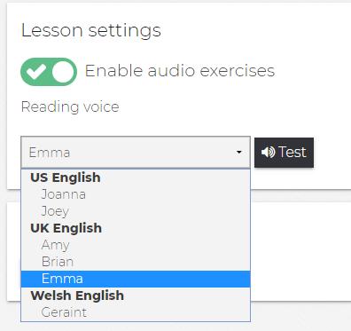 Reading Voice Option