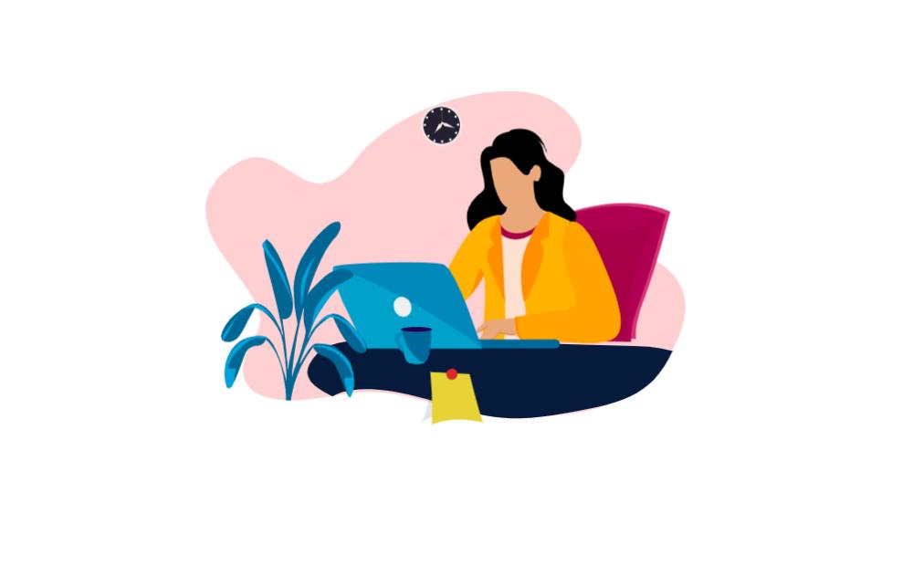 Woman Working On A Laptop Scene