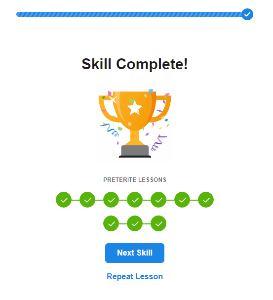 SpanishDict Grammar Lesson Completed Trophy