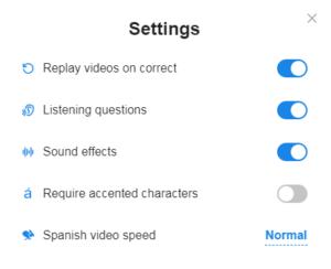 SpanishDict Grammar Lesson Settings