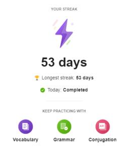 SpanishDict Streak Feature Info