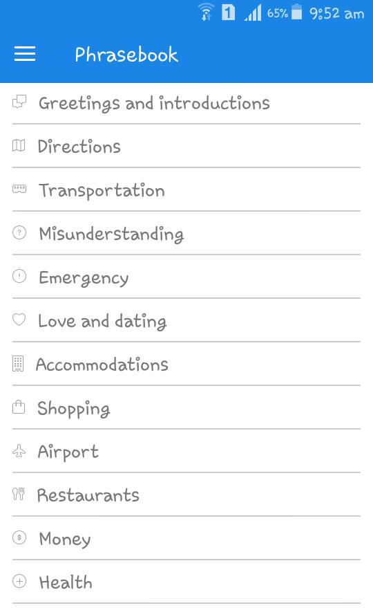SpanishDict Translator App Phrases Topics