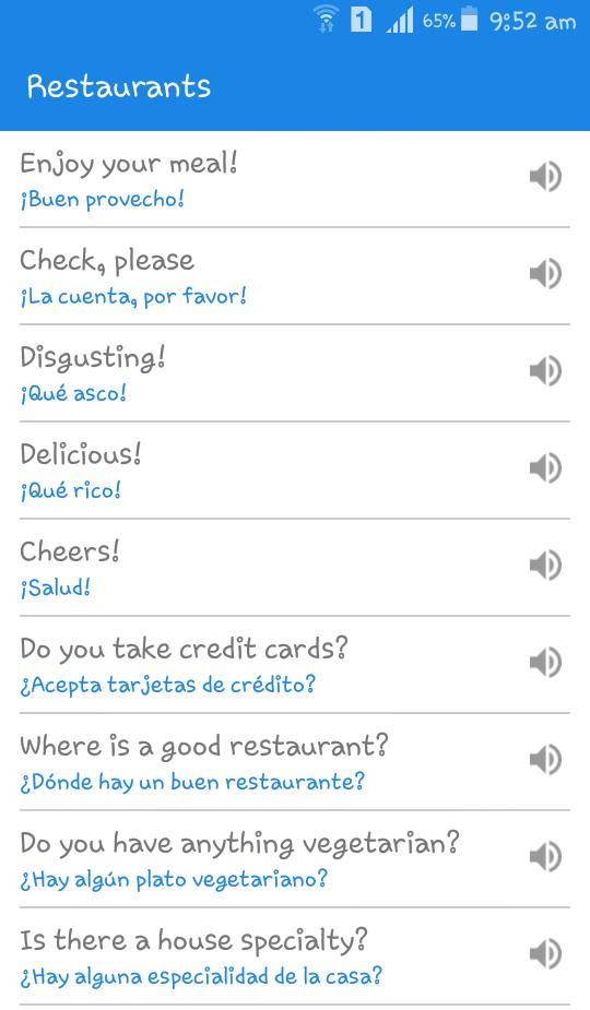 SpanishDict Translator App Phrases list