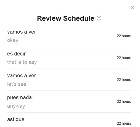SpanishDict Vocabular Review Schedule