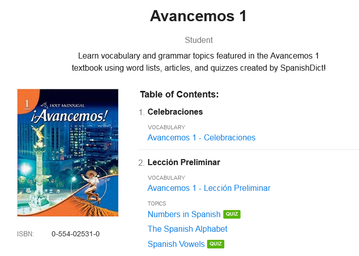 SpanishDict Textbooks Lesson Overview