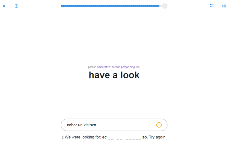 SpanishDict Vocabulary Quiz Hint